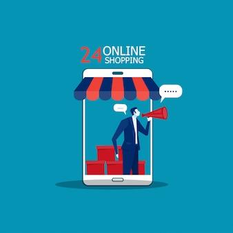 Pessoa que promove serviços de mídia social para potenciais compradores.