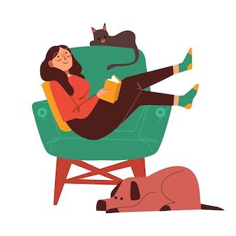 Pessoa que relaxa em casa ilustração tema