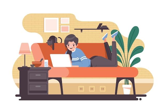 Pessoa que relaxa em casa ilustração