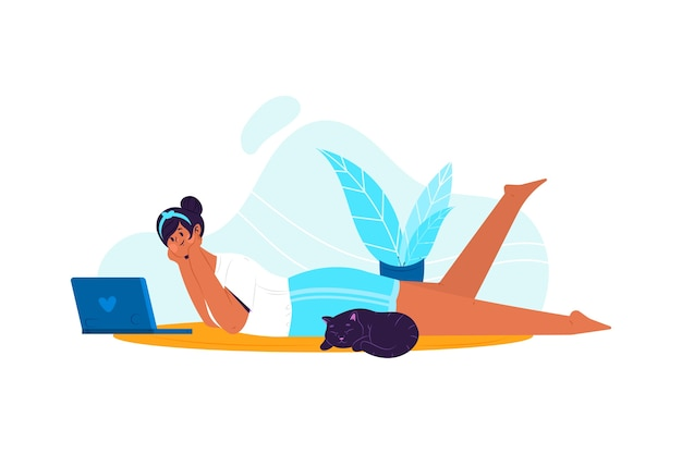 Pessoa que relaxa em casa tema para ilustração