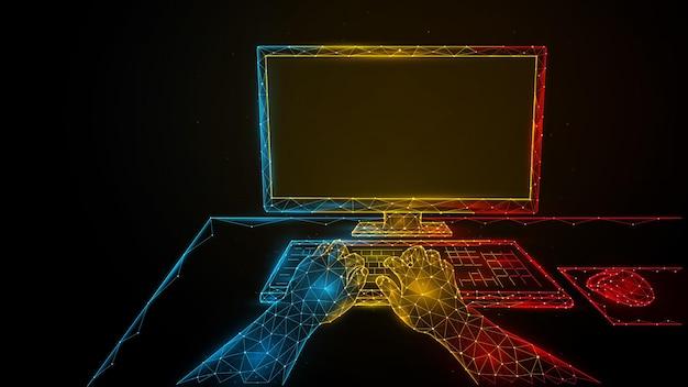 Pessoa que trabalha em um computador. usando um computador. ilustração em vetor poligonal de mãos humanas, monitor de computador e mouse de computador. conceito de jogo