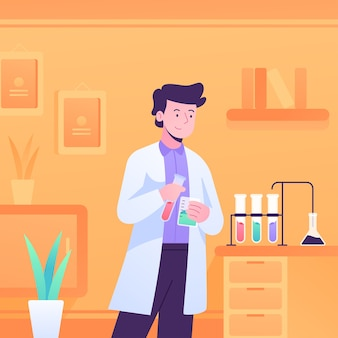 Pessoa que trabalha em um laboratório de ciências