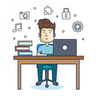 Pessoa que trabalha ícone do escritório