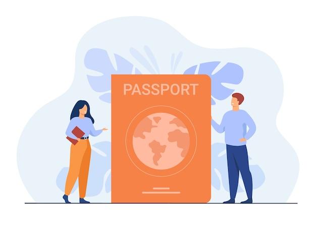 Pessoa recebendo documento de identificação. pessoas minúsculas viajando com passaporte estrangeiro.