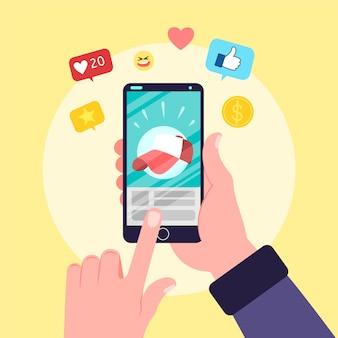 Pessoa, segurando, telefone, com, apps
