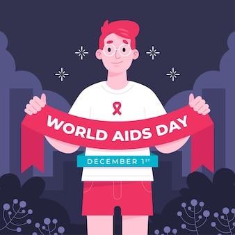 Pessoa segurando uma fita do dia mundial da aids