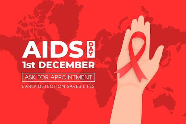Pessoa segurando uma fita vermelha no plano de fundo do dia mundial da aids