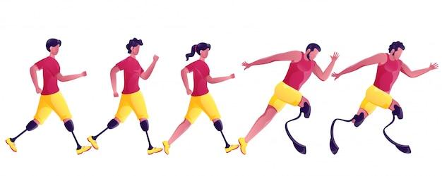 Pessoa sem rosto para esportes com deficiência ou corrida de atletismo