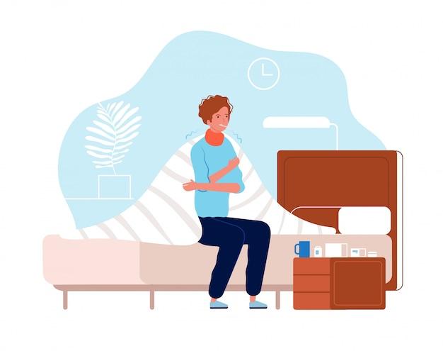 Pessoa tem gripe. dor de homem doença no corpo sentado com pressionando a medicação na cabeça na personagem de gripe fria