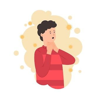 Pessoa tem ilustração de dor de garganta