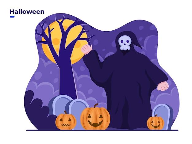 Pessoa usa fantasia de fantasma assustador para comemorar o dia de halloween. ilustração em vetor plana
