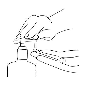 Pessoa usando desinfetante para as mãos