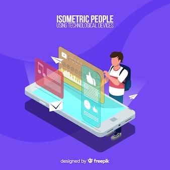 Pessoa, usando, smartphone