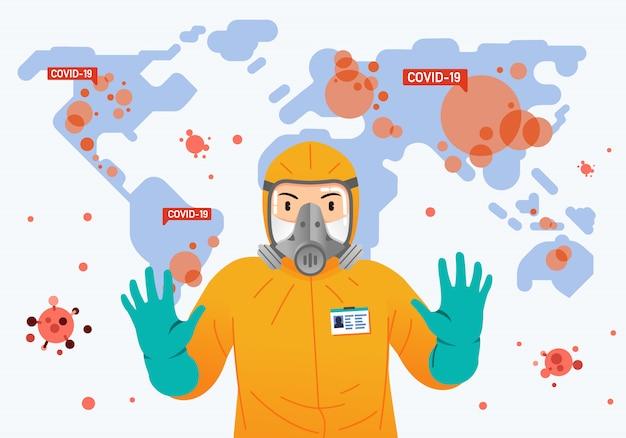 Pessoa vestindo traje de proteção e mapa-múndi como pano de fundo com o vírus da contagiosidade em todo o mundo