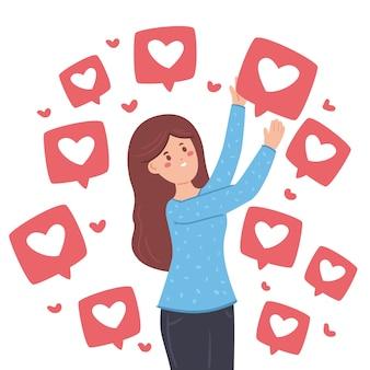 Pessoa viciada em ilustração de mídia social