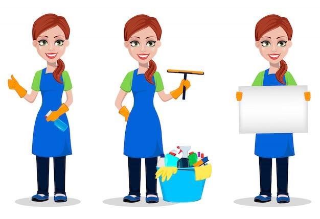 Pessoal da empresa de limpeza de uniforme