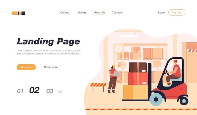 Pessoal de carga no interior do armazém. modelo de página de destino