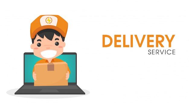Pessoal de entrega on-line via computador.