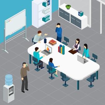 Pessoal de escritório durante a reunião de trabalho na mesa grande na ilustração em vetor composição isométrica de sala de conferência