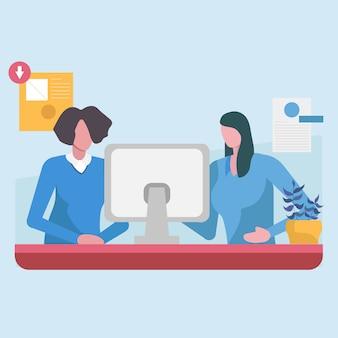 Pessoal de escritório, trabalhando no computador