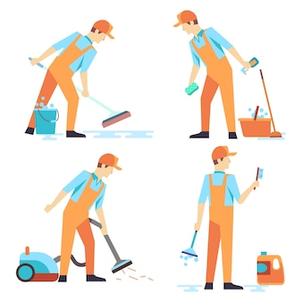 Pessoal de homens plana de serviço de limpeza isolado no branco