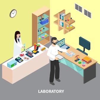 Pessoal de laboratório com equipamento