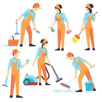 Pessoal de limpeza em diferentes posições. ilustração vetorial. serviço de limpeza, pessoas aspirando e w
