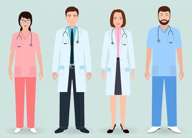 Pessoal do hospital. grupo de médicos de homem e mulher, enfermeira, ordenança médica.