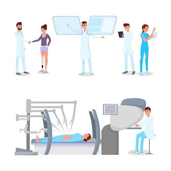 Pessoal do hospital moderno, personagens de médicos e pacientes