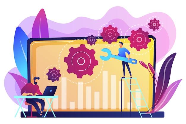 Pessoal do suporte técnico trabalhando na reparação de um hardware e software de computador. resolução de problemas, resolução de problemas, conceito de verificação de problemas. ilustração isolada violeta vibrante brilhante