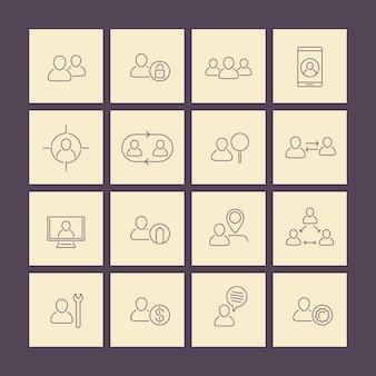 Pessoal, recursos humanos, ícones de linha de rh em quadrados, vetor