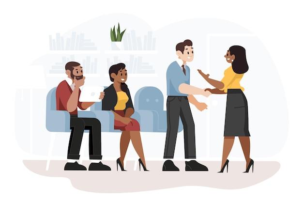 Pessoas à espera da entrevista de emprego