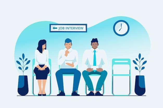 Pessoas à espera de uma entrevista de emprego