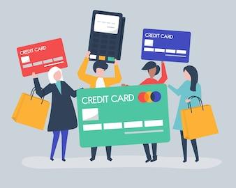 Pessoas a fazer compras com cartão de crédito