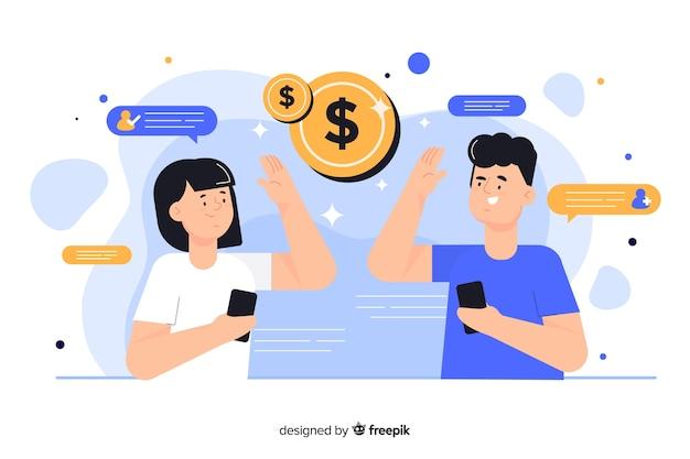 Pessoas a ganhar dinheiro com ilustração do conceito de referência