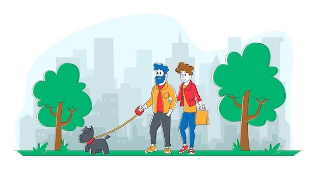 Pessoas a passar tempo com o animal de estimação ao ar livre.