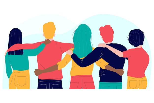 Pessoas abraçando design plano