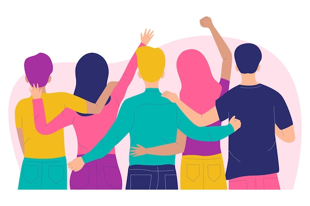 Pessoas abraçando o conceito de dia da juventude