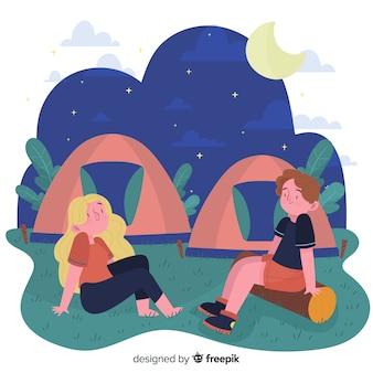 Pessoas, acampamento, mão, desenhado, estilo