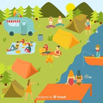 Pessoas, acampamento, montanha