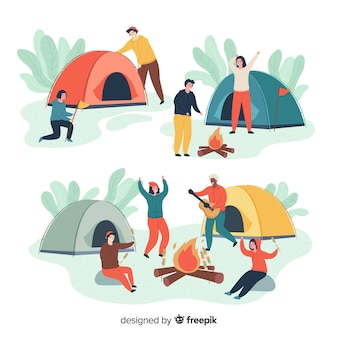 Pessoas acampar coleção de estilo mão desenhada