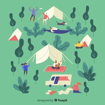 Pessoas acampar design plano de ilustração