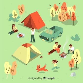 Pessoas acampar em um dia ensolarado