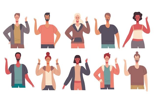 Pessoas acenando design ilustração de mão