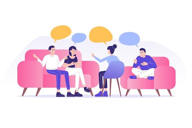 Pessoas aconselhando psicólogo em uma sessão de psicoterapia em grupo