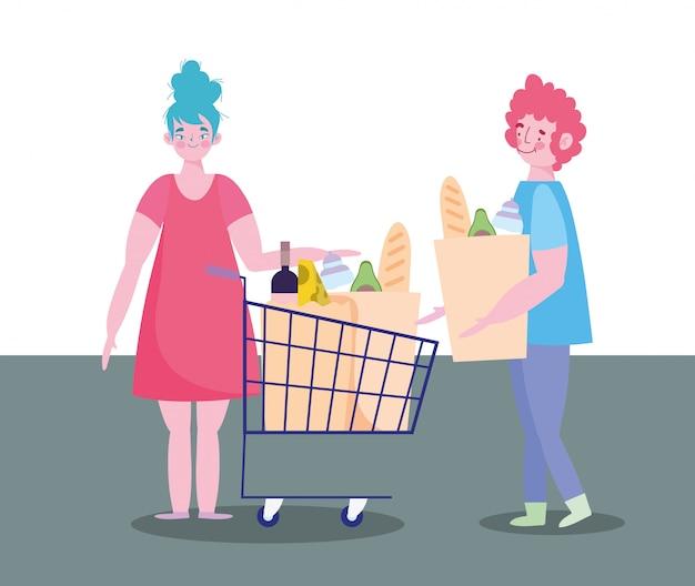 Pessoas acumulando compra, casal de personagens com carrinho de compras e supermercado de comida de saco