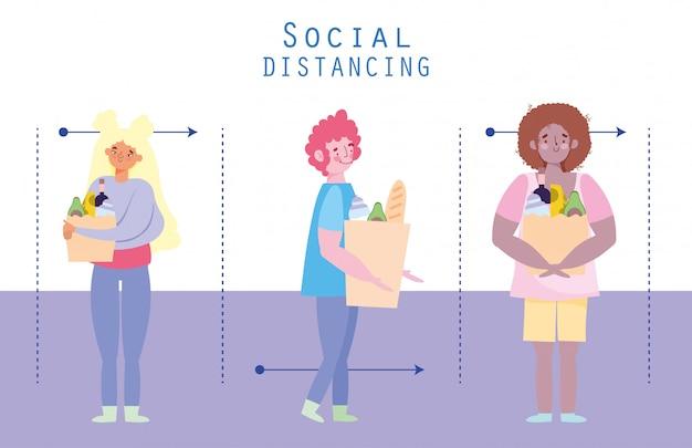 Pessoas acumulando compras, prevenção de coronavírus, distanciamento social, personagens com sacola de compras