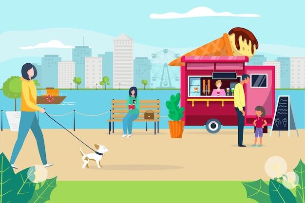 Pessoas adoráveis caminhando no parque do cais, uma personagem mulher passeando com um cachorrinho