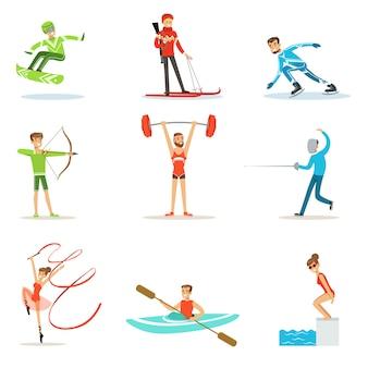 Pessoas adultas praticando esportes olímpicos diferentes conjunto de personagens de desenhos animados