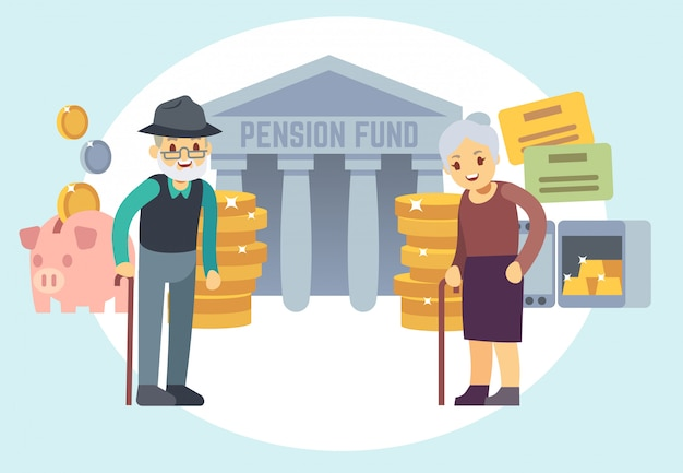 Pessoas adultas superiores felizes que salvar o dinheiro da pensão. personagens para plano de aposentadoria e conceito de vetor de programa de finanças pessoais